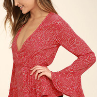Love is Enough Red Polka Dot Wrap Top