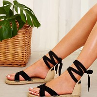 Cross Strap Lace-up Back Espadrille Sandals
