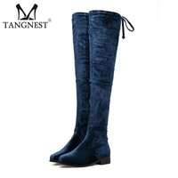 Thigh High Velvet Women's Over-the-knee Flat Comfy Boots