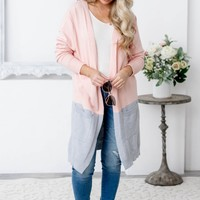 Pink & Grey Knit Pocket Cardigan