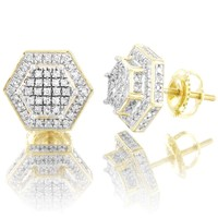 Double Layer 3D Hexagon 0.4Ct Diamonds 10k Gold ScrewBack Earrings