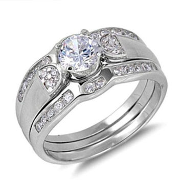 Sterling Silver Wedding Ring Set CZ Engagement Ring and Band with Ring Guard size 5-9