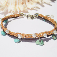 Leather Anklet Leather Jewelry Ankle Bracelet Adjustable Anklets for Women Turquoise Anklet Pearl Anklet Beach Jewelry Beach Wedding Anklet