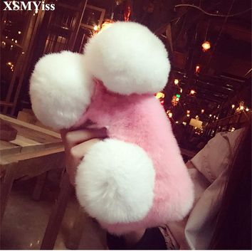 XSMYiss Luxury Cute Cartoon Panda Warm Rabbit Fur Case For iPhone 7 8 Plus Back Cover For iPhone X 5s SE 6 6s Plus Phone Case