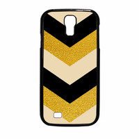 Chevron Classy Black And Gold Printed Samsung Galaxy S4 Case