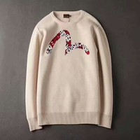 EVISU Long Sleeve Fashion Sweater Top H-A-GHSY-1