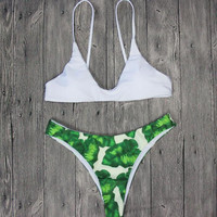 New Summer Sexy Women bikini flower pattern swimsuit green leaves Swimwear -0711