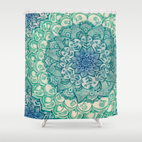 Emerald Doodle Shower Curtain by Micklyn