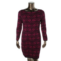 Charter Club Womens Petites Printed Long Sleeves Sweaterdress