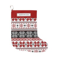 Red and Black Winter Fair Isle Pattern Large Christmas Stocking
