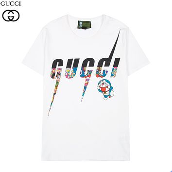 GG men's and women's color-blocking letters round neck short-sleeved T-shirt