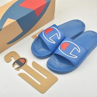 Champion Life Youth Slide Sandals C Logo Blue - Best Online Sale