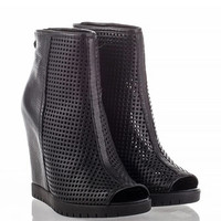 Crazy Womens Wedge Boot Black Leather