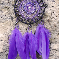 Purple dream catcher, Black dreamcatcher with dices, Gothic wall decor, Boho chic, Good luck gift for her, College dorm decorations, Gamer