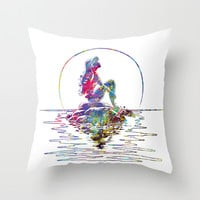 The Little Mermaid Ariel Silhouette Watercolor Throw Pillow by Bitter Moon