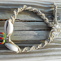 Cowrie Shell Peace Anklet,Macrame anklet,Hemp Anklet, Peace sign, Hippie, Boho, Hipster