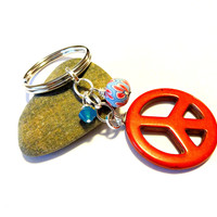 Peace Symbol Key Ring, Cool Car Accessory, Funky Key Chain
