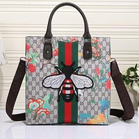 Perfect Gucci Women Honeybee Embroidery Leather Shoulder Bag Satchel Tote Handbag