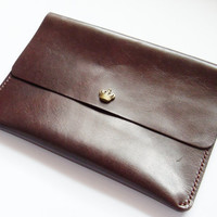iPad Mini Case - Leather iPad Mini Sleeve with Crown Button Snap in Dark Brown  - Handmade & Hand Stitched - Free Monogram