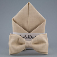 Ivory Men's Bow Tie Pocket Square Matching Set Beige Bow Tie Handkerchief Wedding Bow Tie for Men Groomsman Pocket Square Gift for Men