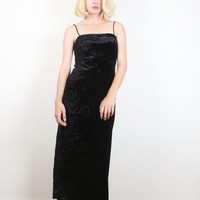 Vintage 90s Dress Black Velvet Burn Out Floral Dark Soft Goth Maxi Dress 1990s Bodycon Sheer Burnout Soft Grunge Gypsy Gown XS S Small M