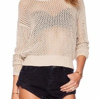 Staci Knit Open Back Cutout Pullover Sweater