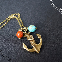 Tiny Anchor Children Necklace Decorated with Turquoise Jasper Bead Pendant