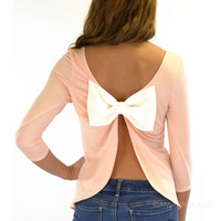 Peek-A-Bow Peach Bow Back Top