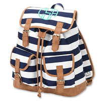 Monogrammed Navy Stripe Campus Backpack