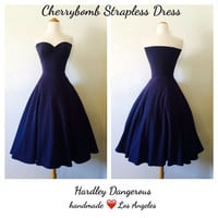 The Cherrybomb Dress in Navy Blue, Strapless ROCKABILLY Ink Blue Pinup Semi Formal Knit Dress, Dark Blue Pin Up Bridesmaid Dress