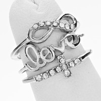 Cross Infinity Knuckle Ring Set Silver