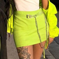 New Threaded Chain Half-length Skirt Belt Fluorescent Yellow Buttock Short Skirt