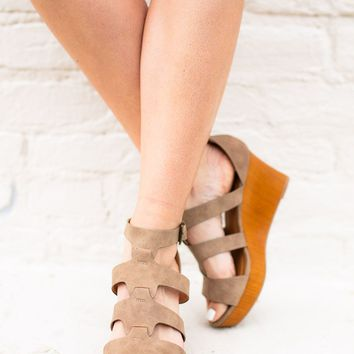Out And About Taupe Wedge
