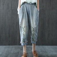 Vintage embroidery Ankle-length pants casual jeans pants 2017 mori girl