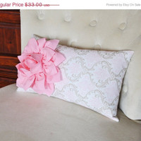Light Pink Dahlia on Pink Taupe Damask Pillow Lumbar Pillow 9 x 16 Baby Nursery Decor