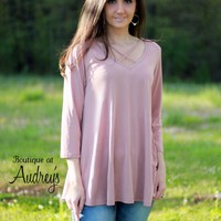 Jodifl Blush Top with Criss Cross Neckline and Three Quarter Sleeves