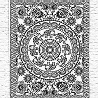 Elephant Decor Ethnic Tribal Office Decor for Woman Digital Print Tapestry Wall Hanging Art Prints Black and White Living Room Bedroom Dorm Decor, Black and White