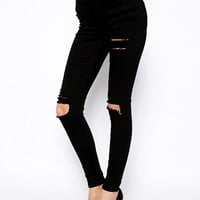 ASOS Ridley High Waist Ultra Skinny Jeans in Clean Black with Thigh Ri