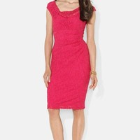 Lauren Ralph Lauren Cowl Neck Stretch Lace Sheath Dress (Petite)