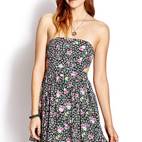 Throwback Strapless Floral Dress