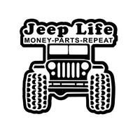Jeep Life Money Parts Repeat Decal Jeep Life Car Decal Jeep Money Parts Repeat jeep decal jeep Vinyl decal Jeep Life window decal Jeep