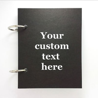 Custom journal, notebook, sketchbook, diary, jotter, ring binder, blank notepad, typography, customized, black journal, your custom text