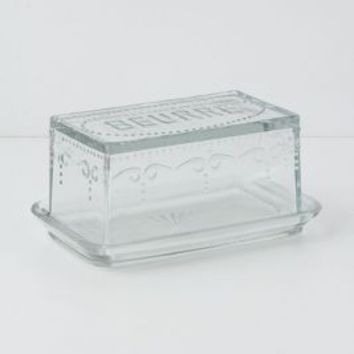 Etched Glass Butter Dish by Anthropologie Clear One Size House & Home