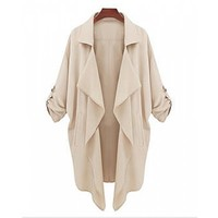 Pockets Design Long Sleeve Turn Down Collar Asymmetrical Hem Women's Coat