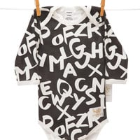 Organic alphabet white bodysuit handmade in USA