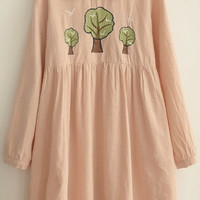 Lovely Peter Pan Collar Long Sleeves Trees Embroidery Loose Midi Smock Dress