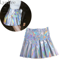 Punk Style Summer Women Harajuku Skirt Holographic Hologram Metallic Skirt Silver Pleated Mini Skirt Saia