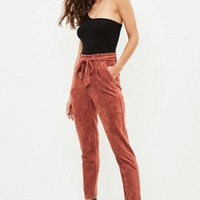 Missguided - Brown Faux Suede Paperbag Waist Pants