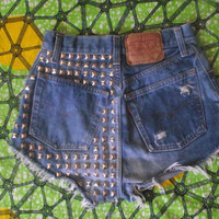Back Pyramid Studded High Waisted Vintage Levi Denim by Shortcuts