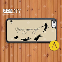 Never grow up, Peter Pan, Phone cases, iPhone 5c case, Case For iPhone, Skins, Cover Skin --C50431